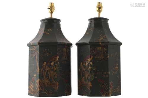 PAIR OF TOLEWARE CADDY STEMMED TABLE LAMPS