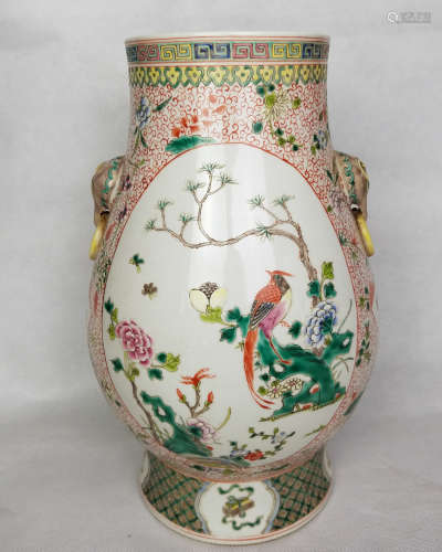A QING FAMILLE-ROSE BIRD AND FLORAL PATTERN VASE