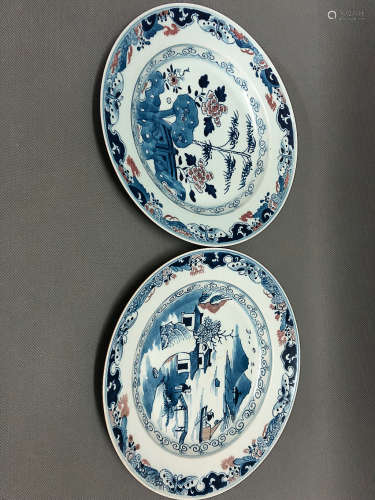 TWO BLUE&WHITE WITH UNDERGLAZED RED PLATES, QING DYNASTY