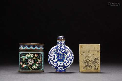 A group of three Chinese copper-based snuffle bottles from Qing Dynasty
