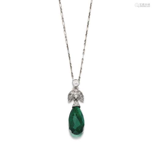 Emerald and diamond pendant, 1910s