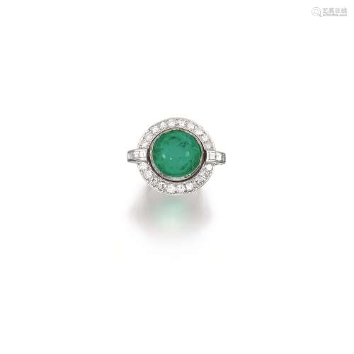 Emerald and diamond ring, 1950s