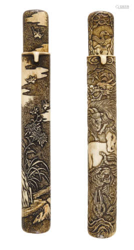 The first by Hokuho, Edo period (1615-1868) or Meiji era (1868-1912), 19th century Two stag-horn Kiseruzutsu (pipe cases)