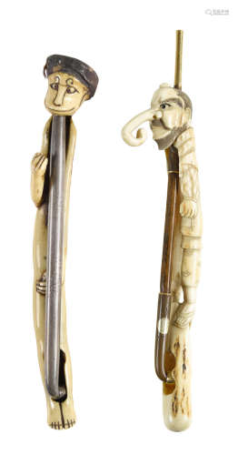 Edo period (1615-1868) or Meiji era (1868-1912), 19th/20th century Two amusing kiseruzutsu (pipe cases) with kiseru (pipes)