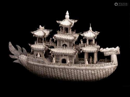 19th century A large carved bone model of a dragon boat