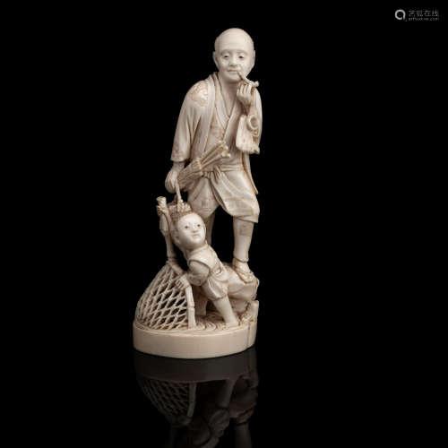 By Ungyoku, Meiji era An ivory okimono of a fisherman and child