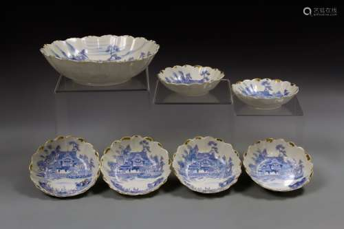 Seven Japanese Blue and White Bowls