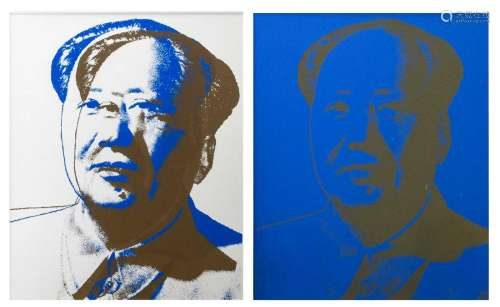 Two worked silkscreens after Andy Warhol's 'Mao',24 x 30 cm