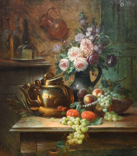 Carlier M., a still life with flowers and a water kettle, oil on canvas, 71 x 81 cm