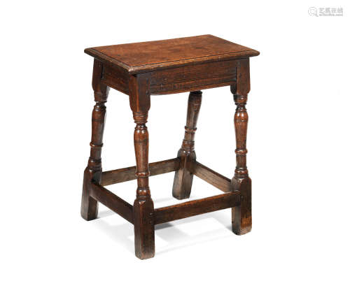 An interesting Charles I oak joint stool, West Country, circa 1630