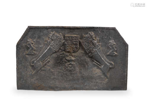 Of a type produced in the Sussex Weald in the mid-16th century, but possibly a later copy A cast iron fireback, English
