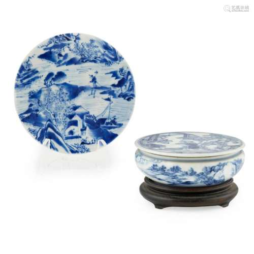 SMALL BLUE AND WHITE CIRCULAR BOX AND COVER QING DYNASTY, 19TH CENTURY