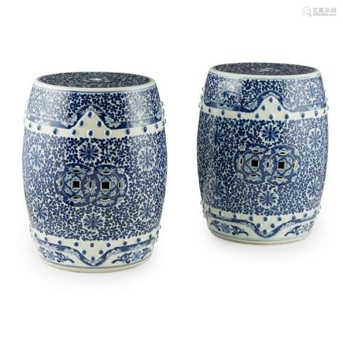 PAIR OF BLUE AND WHITE GARDEN SEATS REPUBLIC PERIOD 46cm high