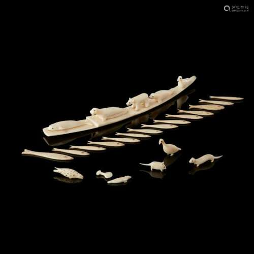 COLLECTION OF INUIT MARINE IVORY ANIMALS AND FISH GAMING COUNTERS longest 25cm