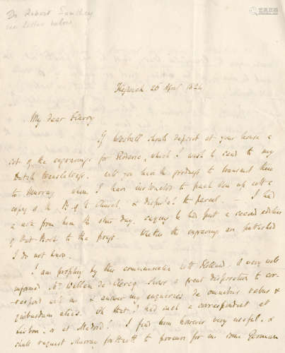 Album kept by members of the Goulburn, Goldsmid and associated families, with letters to the editor S.C. Hall and to the imperial administrator General Sir Frederick Goldsmid, including autograph letters, etc. from Charles Dickens, Hartley Coleridge, Robert Southey and others, plus strands purporting to be the hair of Napoleon and Wellington, nineteenth-century LITERATURE, EXPLORATION AND HISTORY