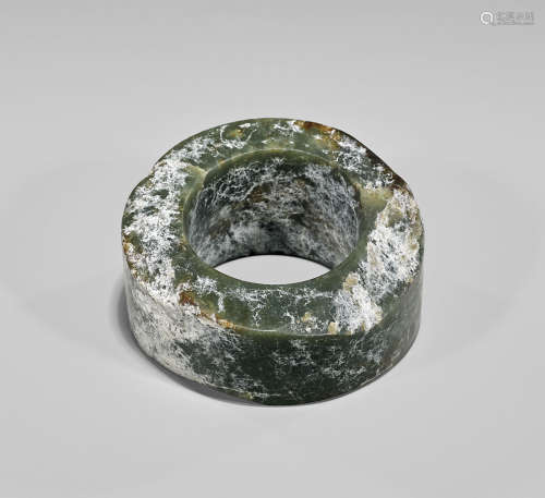 LARGE NEOLITHIC GREEN JADE RING