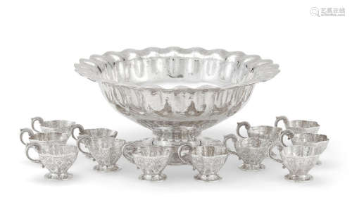 by Sanborns, Mexico City,  mid-20th century  A Mexican  sterling silver  thirteen-piece punch service
