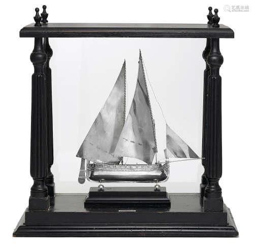 maker's mark F.P.,   19th/20th century  A Maltese       800 standard silver model of a three-mast Gozo boat in case