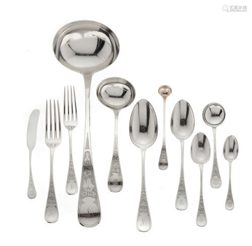 by Tiffany & Co., New York, NY, circa 1869-1875  An assembled American  sterling silver  part flatware service