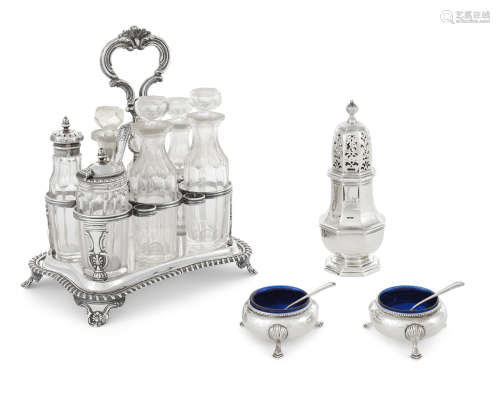 by various makers, London,  18th-19th century  A four-piece group of English  sterling silver  condimentware