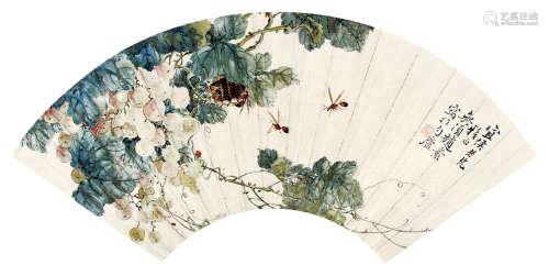 赵素 (清末民初) 葡萄蜜蜂 设色纸本扇片