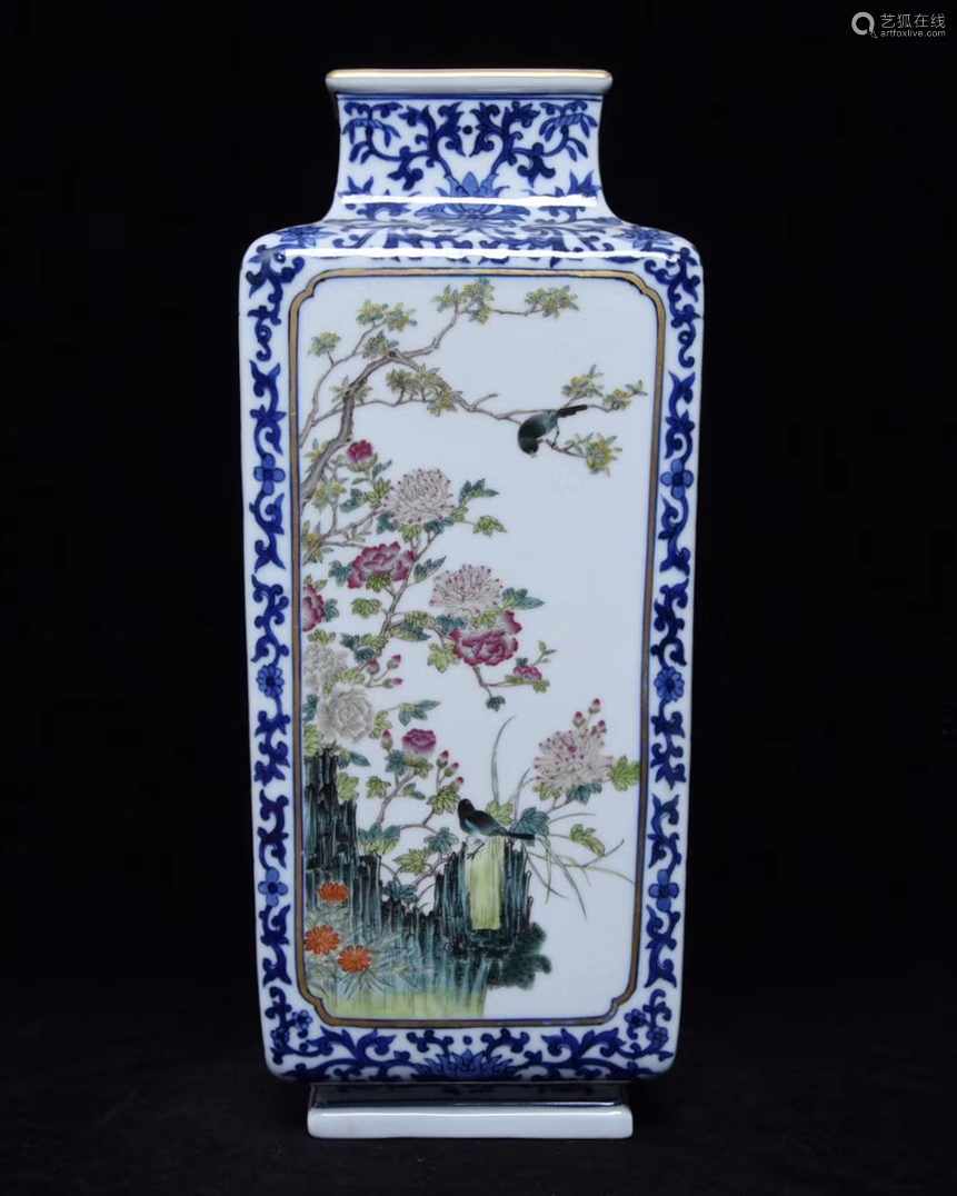 FAMILLE-ROSE VASE WITH QIANLONG MARK