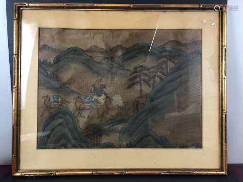 Qing Dynasty Watercolor Painting in silk with frame