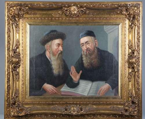 Oil on Canvas Talmudic Discussion