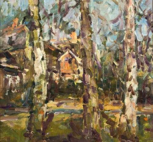 Albert Feser, 1901-1993, Birches in the neighboring