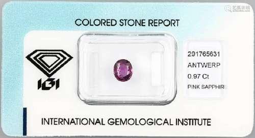 Loose pinksapphire, 0.97 ct