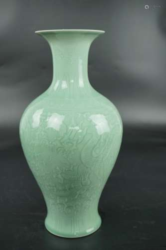 A CELADON 'DRAGON' VASE, QIANLONG MARK
