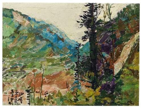 沙耆(1914~2005) 1993年作 呼唤的远山 油彩 画布