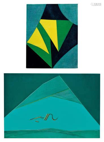 霍刚(B.1932) 1991年作;及1985年作 91-16;及No. 6 (共两件) 油彩 画布