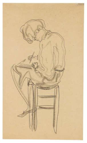 常玉(1901~1966) 速写中的仕女 铅笔 炭笔 纸本
