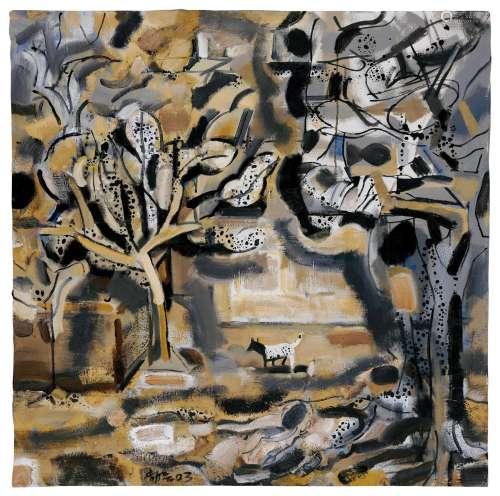 王劼音(B.1941) 2003年作 山村 油彩 画布