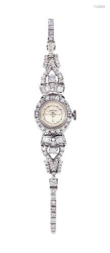 汉密尔顿 精致罕有,铂金镶钻石女装机械链带腕表,年份约1970