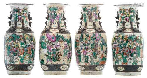 A pair of Chinese polychrome decorated stoneware vases with a battle scene, marked, about 1900; added two ditto vases, H 45 cm