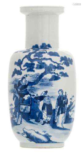 A Chinese blue and white decorated begonia shaped vase with an animated scene in a landscape and bats, H 45,5 cm
