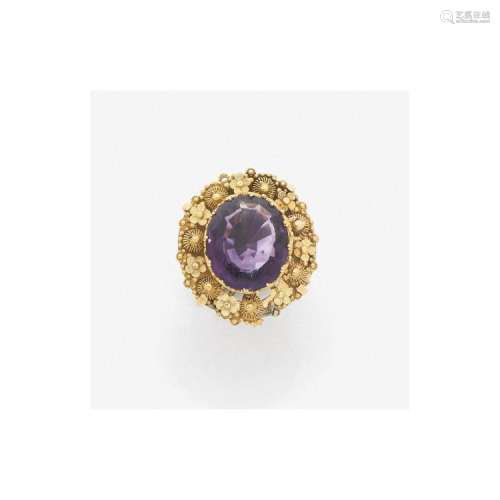 ANNÉES 1820 IMPORTANTE BAGUE AMÉTHYSTE An amethyst and gold ring, circa 1820.