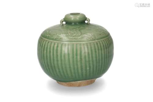 A green glazed celadon vase with decor of vertical lines and a dragon chasing a burning pearl. China, Yuan/Ming. H. 15 cm.