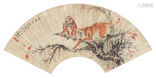 戈湘岚 丁亥-1947年作 双猴图 扇面卡纸