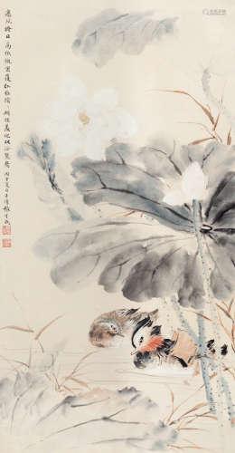张守成(1918~2013) 丙申(1956)年作 荷塘双鸳 立轴 设色纸本