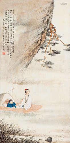 贺天健(1891~1977) 丁丑(1937)年作 赤壁泛舟图 镜片 设色纸本