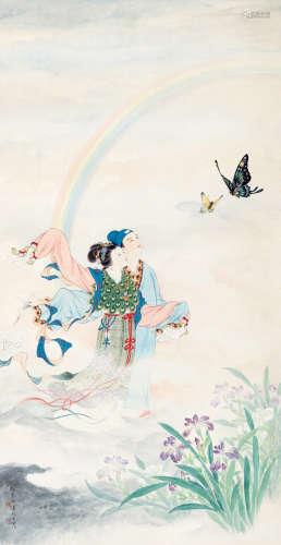 郑慕康 汤义方(1901~1982) 化蝶 立轴 设色绢本