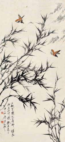 唐云 申石伽(1910~1993) 癸丑(1973)年作 竹林幽禽 立轴 设色纸本