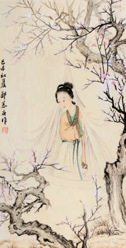 郑慕康(1901~1982) 己未(1979)年作 梅影仕女 立轴 设色纸本