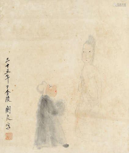 关良(1900~1986) 人物 镜片 设色纸本