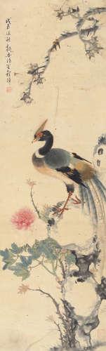 程璋(1869~1938) 戊辰(1928)年作 富贵锦鸡 立轴 设色纸本