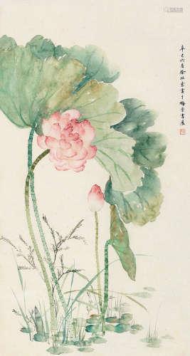 徐玥(1916~2002) 辛巳(1941)年作 清香幽香 立轴 设色纸本