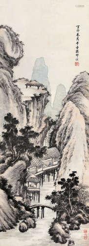 楼辛壶(1880~1950) 丁卯(1927)年作 水阁探幽 立轴 设色纸本